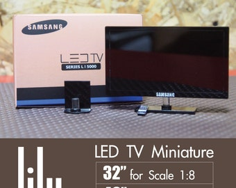 New LED TV Miniature for dollhouse scale 1:12, Lati doll or similar Dolls