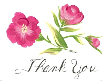 Hand Painted Thank You Card Set of 24