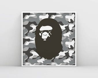 A Bathing Ape Poster with camouflage background, Kaws collaboration A Bathing Ape Logo, BAPE, Urban Street Poster Print, Street wear print