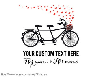 Personalized Valentine's day card, custom Valentines card, customizable tandem bicycle, wedding gift, unique gift for couples