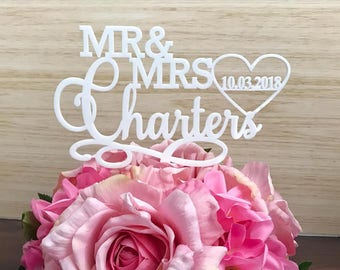 Personalised Cake Topper, personalised wedding cake topper, acrylic cake topper, wood cake topper, custom cake topper australia, mr & mrs (2