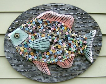 Custom Button Fish Wall Art