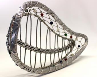 Vintage Hand Made Leaf Braided Wire Beaded Basket, Shabby Chic, BoHo