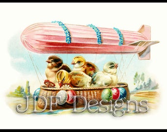 Instant Digital Download, Antique Graphic, Easter Blimp, Airship, Zeppelin, Balloon, Eggs, Chickens, Chicks, Postcard, Printable, Spring