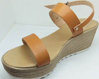 Platform sandals from leather