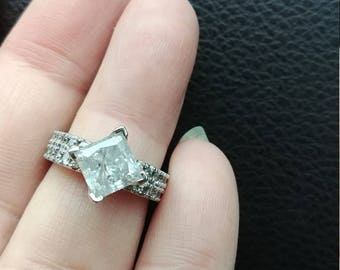 2ct Princess Cut Diamond Wedding Engagement Ring Huge