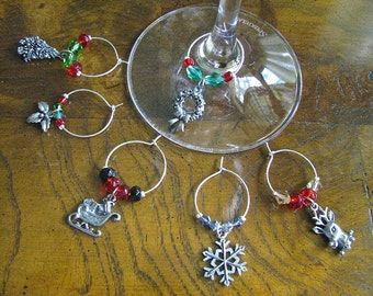 Wine Glass Charms Christmas Party - Set of 6