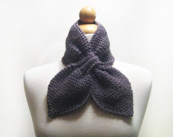 Knitted Dusty Charcoal Grey Bow Neck Warmer or Scarflette