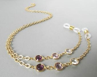 Purple Eyeglasses Chain - Gold Eyeglass Chain - Eye Glasses Chain - Reading Glasses Necklace - Chain for Glasses - Gold Glasses Holder