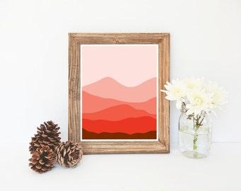 Cubicle Decor, Mountain Scene Print, Orange Wall Art,  Abstract Wall Art, Modern Home Decor