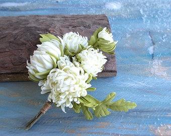 "Brooch "" Chrysanthemum white"""
