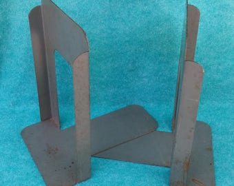 Globe Wernicke Industrial Arts & Crafts Pair of Metal Bookends