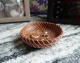 Pink Pine Needle Basket Pine Needle Coiled Trinket Basket Native American Pine Needle Trinket Basket For Teen Home Decor Basket For Her