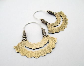 Don't Worry Be Happy Hoop Earrings, Mixed Metal, Ethnic, Tribal, Handmade, Hip, Gypsy