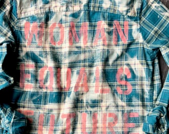 Upcycled grunge distressed graphic one of a kind Flannel boho festival style sz S