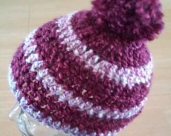 Beanie - Raspberry and Cream With Pompom