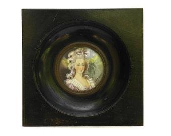 19th Century French Antique Miniature Marie Antoinette's Portrait Painting Signed Deadot.