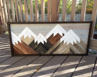 Reclaimed Rustic Wood Wall Art Mountain , Scene, Mantel Art , Cabin Decor, Rustic Style, Cozy, Over Sized Wooden Mural, Natural Wood Stained