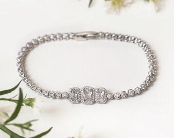 Bridal Bracelet, Swarovski Crystal Bracelet, Silver Wedding Accessories, Bridal Jewelry, Rhinestone Trio Bracelet, Wedding Gifts, B247-S