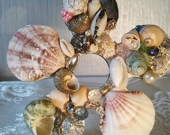 Bejeweled shell ornament