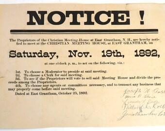 Grantham NH 1892 antique vintage broadsheet notice town meeting 1892  ephemera paper historical