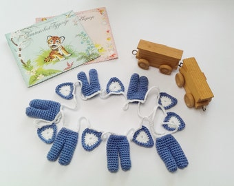 Crochet Garland Baby Boy Pattern with Pants and Hearts, Wallhanging, Bunting, Home Decor, Nursery Room, Keyring, Brooche by Atelier Sopra