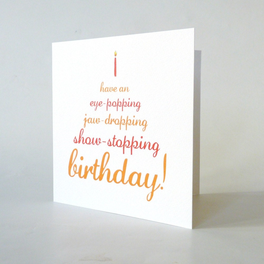Funny birthday card . cute vintage typography cake candle