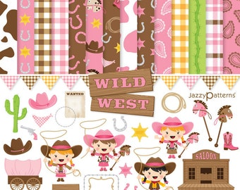 Girly Wild West clip art and digital paper pack DK009 instant download