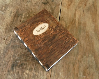 custom cabin or vacation home guest book tree bark cover - lake house mountain home  rustic engraved wood book unique gift -made to order