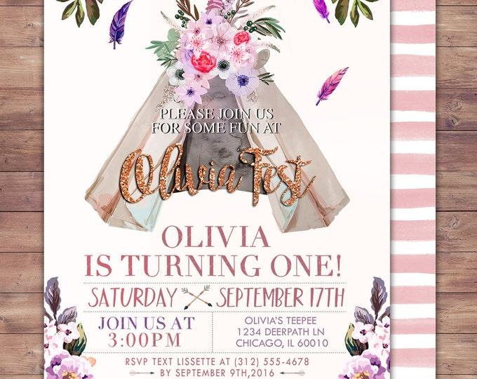 Teepee Birthday Invitation, ticket invitation, pow wow, BOHO, Tribal, first birthday, 1st birthday, Gold glitter, music festival, Rock Star