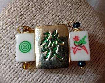 Green Dragon pin / Mahjongg pin / Mah jong brooch / One Bam / One Dog / Lucky Green Dragon / Ma jong jewelry