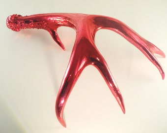 Deer Antler Red Chrome Art Sculpture