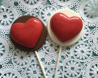 RED HEART CHOCOLATE Lollipops(12 qty) - Hearts/Love Hearts/Valentine/Valentine's Day/Heart Lollipops/Sweetheart/Party Favors/Wedding Favor