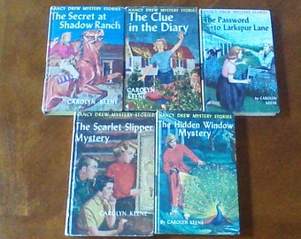 Vintage Nancy Drew Books, Lot of 5 Books, Nancy Drew Lot, Hardcover Chapter Books, 5, 7, 10, 32, 34, 1930s, 1950s