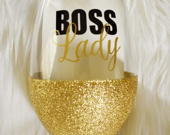 Glitter Stemless Wine Glass - Boss Lady