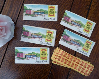 FIVE Vintage Top Value Stamps Saver Small Books with Stamps, Top Value Stamps