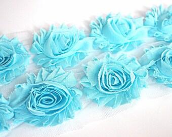 "Aqua Shabby Rose Trim - 2.5"" Shabby Chiffon Rosettes - Solid Aquamarine Shabby Trim - Shabby Chiffon Flowers 1/2 Yard or 1 Yard"
