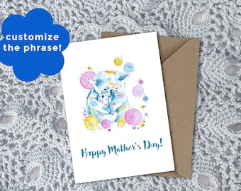 Floral Koala Watercolor Art Customizable Greeting Card || Perfect for  Mother's Day or Baby Shower || Hand-painted Artwork