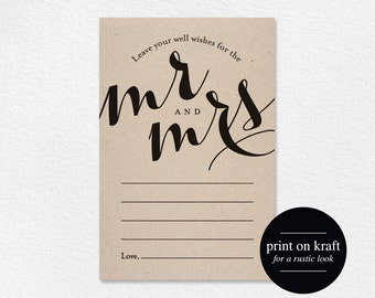 Wedding Well Wishes for Mr and Mrs, Card, Printable Template, Wedding Advice, Wedding Game, PDF Instant Download #BPB133_18