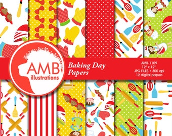Baking digital papers, Cooking paper, Bake Sale Backgrounds, Bakers papers, Chef Papers, Commercial Use, AMB-1109