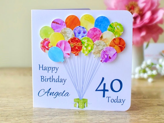 40th birthday card personalised age 40 birthday balloons 40th birthday card personalised age 40 birthday balloons card handmade custom personalised mum dad son friend colourful bhb40 bookmarktalkfo