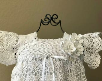 Kallie Rae Dress Extra Long, Crochet Vintage Christening, Gown, Christening Dress, Blessing Gown, Blessing Dress, Baptism, Naming, Baby Girl