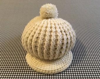 1970's, chunk knit, pom pom, visor hat, in cream, by Betmar