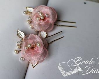 2pcs Bridal hair pins, pearl hair pins, golden color hair pins with pink flowers