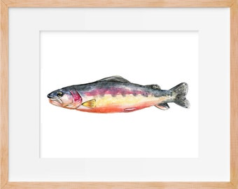 Rainbow Trout 101 Print, Fishing Art, Hunting and Fishing Decor, Fly Fishing, Trout Art, Fish Art, Watercolor Print, Fish Wall Art, Fishing,