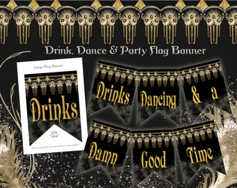Roaring 20's Glam Party Printable Banner