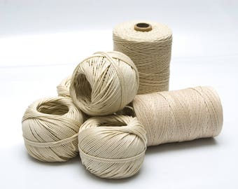 Natural Cotton Twine, Polished and Unbleached, with 1,7mm Thickness