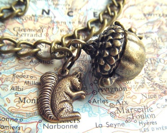 Squirrel Charm Bracelet Acorn Locket Rustic Antiqued Brass Steampunk Style Assemblage Jewelry Mixed Metal Finishes