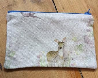 Deer and Pheasant Purse/ make up bag / travel bag