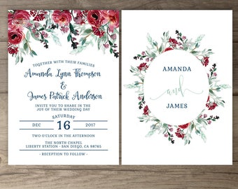 Marsala Navy Floral Wedding Invitations • Burgundy Merlot Red Green Watercolor Invites • printable
